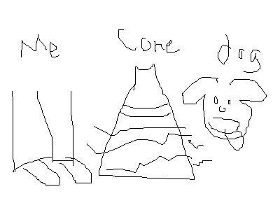 Me. Cone. Dog.